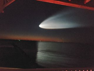 This photo by Eduardo R. shows a view of a predawn SpaceX Falcon 9 rocket launch from Florida as it appeared from Chesapeake Beach, Maryland on March 14, 2021. A similar sight may be visible when SpaceX launches its Crew-2 mission April 23.