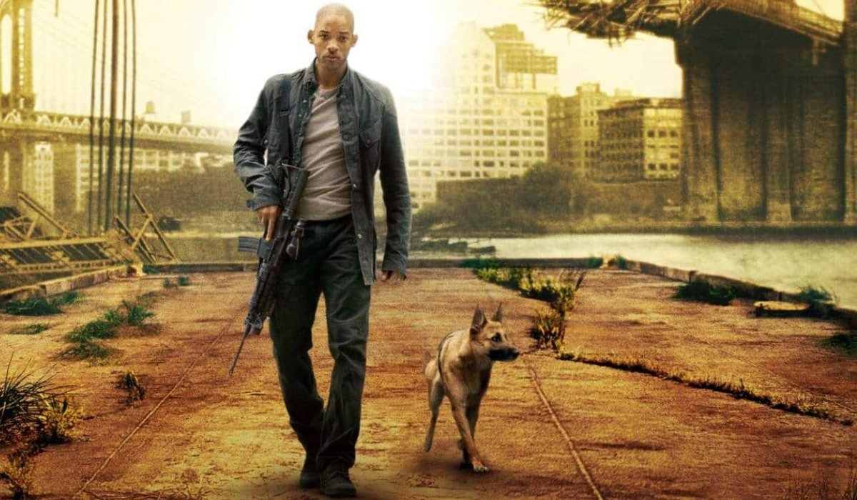 I Am Legend Will Smith walks on the pier with his dog