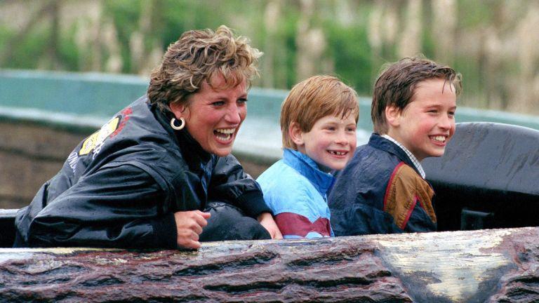 Princess Diana enjoys a trip to Thorpe Park with her sons, Prince William and Prince Harry