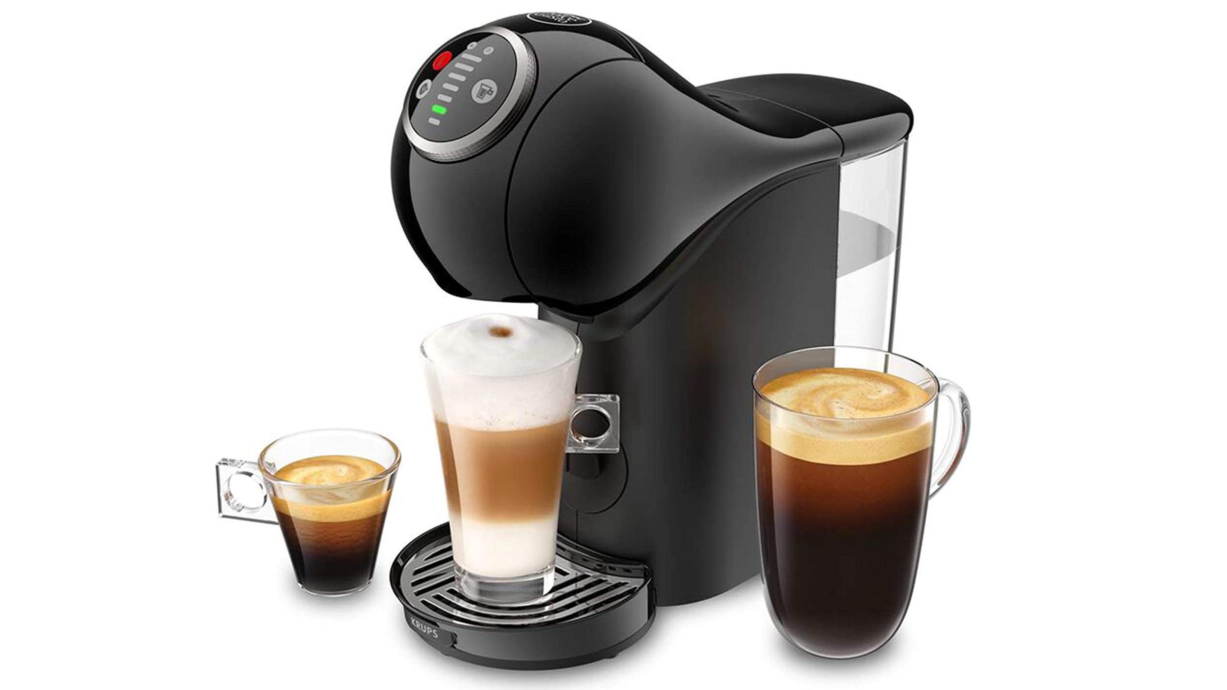 The Nescafe Dolce Gusto Genio Plus coffee machine delivers