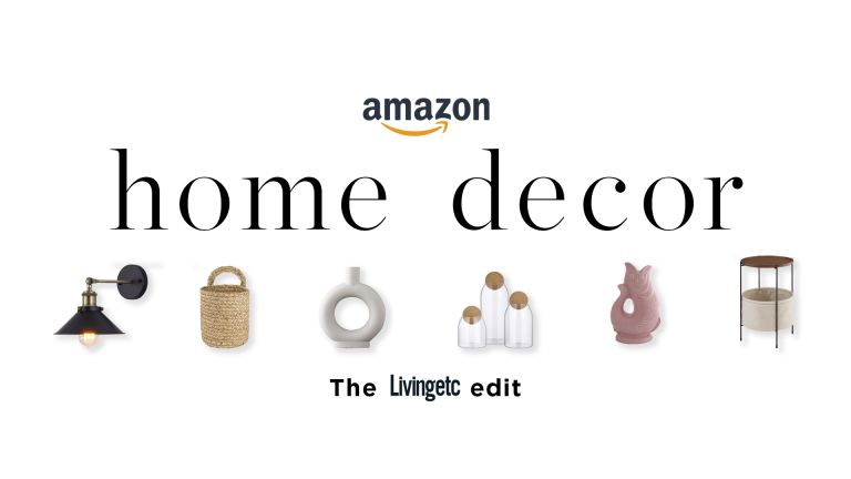 Amazon home decor graphic for Living etc with cut outs of products such as vases and storage jargs