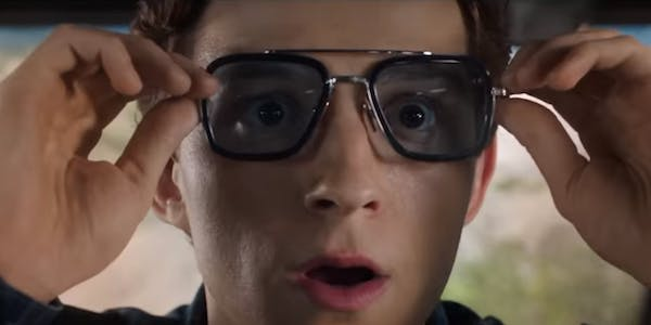 Tom Holland as Peter Parker in Tony's glasses in Spider-Man Far From Home