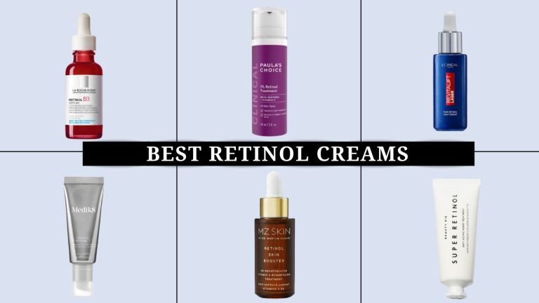 collage of the best retinol creams and serums