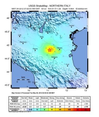 Map of the shaking intensity from the magnitude 5.8 earthquake that struck northern Italy on May 29, 2012.
