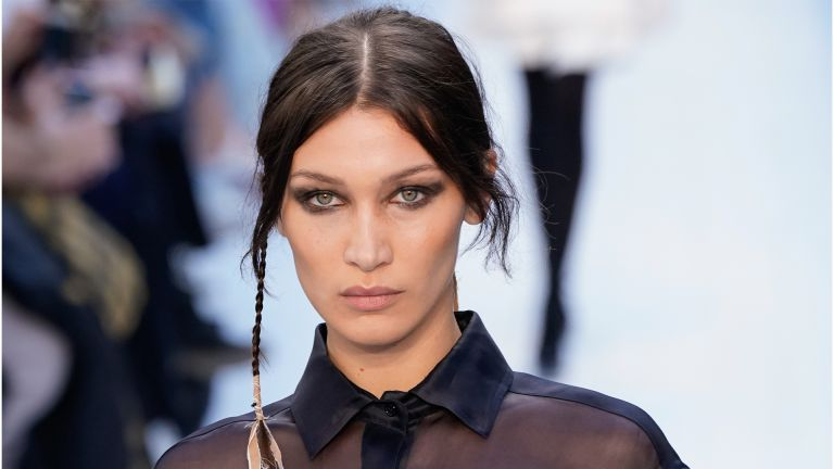 MILAN, ITALY - FEBRUARY 20: Bella Hadid walks the runway during the Max Mara fashion show as part of Milan Fashion Week Fall/Winter 2020-2021 on February 20, 2020 in Milan, Italy. (Photo by Pietro D'Aprano/Getty Images)