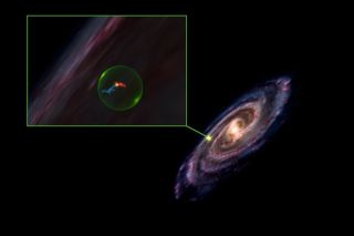 Astronomers have discovered a giant, spherical cavity within the Milky Way galaxy; its location is depicted on the right. A zoomed-in view of the cavity (left) shows the Perseus and Taurus molecular clouds in blue and red, respectively. Though they appear to sit within the cavity and touch, new 3D images of the clouds show they border the cavity and are quite a distance apart.