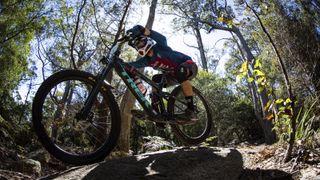 A mountain biker with a full-face helmet soaring down a rocky descent on a Trek bike