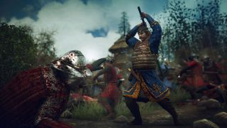 A warrior prepares to finish off his fallen opponent in Ancestors Legacy
