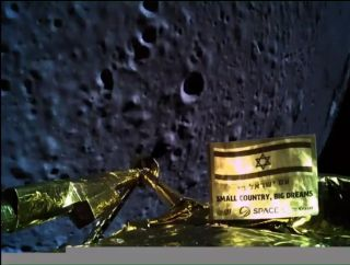 Israel's Beresheet spacecraft captured this selfie during its landing maneuver on April 11, 2019. That maneuver was unsuccessful, and the probe slammed hard into the lunar surface.