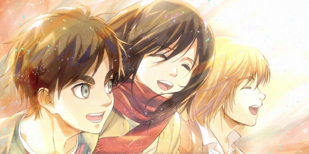 Eren, Mikasa, and Armin
