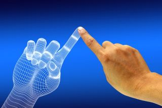 A human hand reaches a finger out to touch a digital hand.