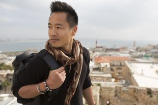 Albert Lin on a rooftop in Acre, Israel