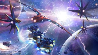 """Concept art for the """"Guardians of the Galaxy: Cosmic Rewind"""" roller coaster that will be added to Walt Disney World's Epcot. Disney revealed the name of the attraction at the 2019 D23 Disney fan convention."""