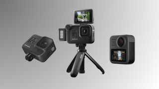 The GoPro Hero 8 Black (left), GoPro Max (right), and the Media, Light and Display Mods