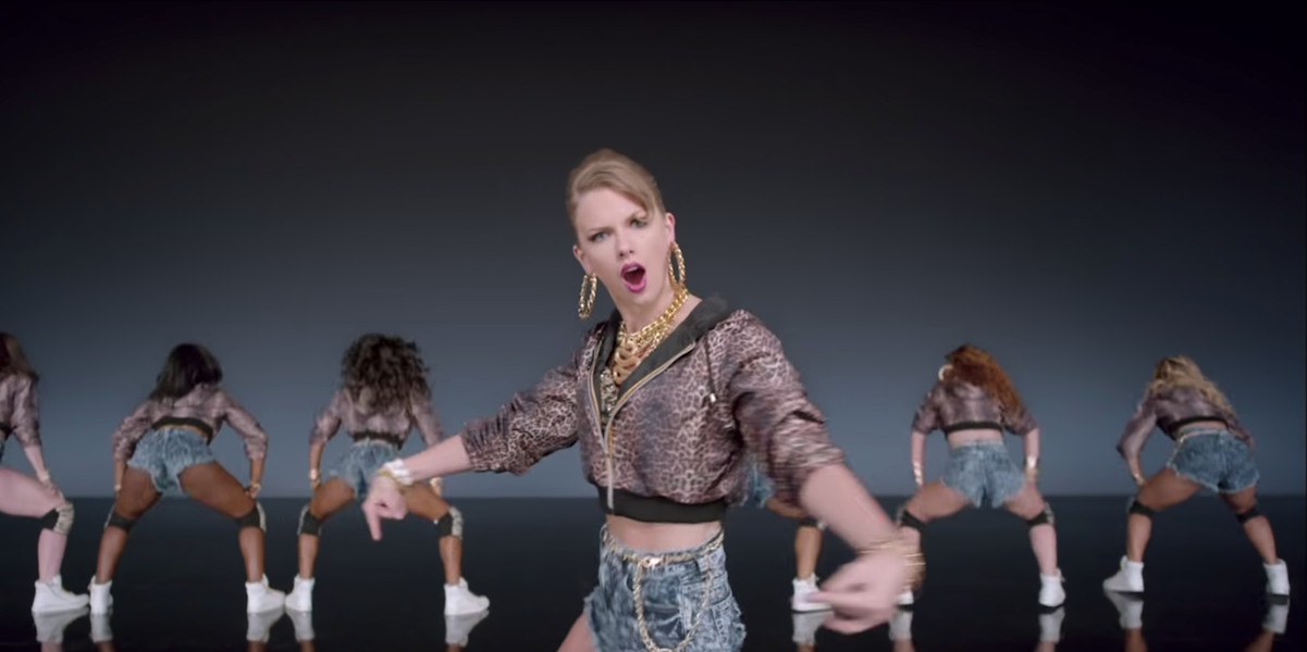 Taylor Swift with the Twerkers in the Shake it Off music video