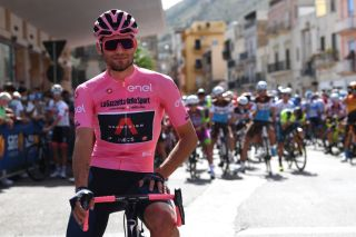 AGRIGENTO ITALY OCTOBER 04 Start Filippo Ganna of Italy and Team INEOS Grenadiers Pink Leader Jersey Santuario Maria SS DellAlto Alcamo Village during the 103rd Giro dItalia 2020 Stage 2 a 149km stage from Alcamo to Agrigento 243m girodiitalia Giro on October 04 2020 in Agrigento Italy Photo by Tim de WaeleGetty Images
