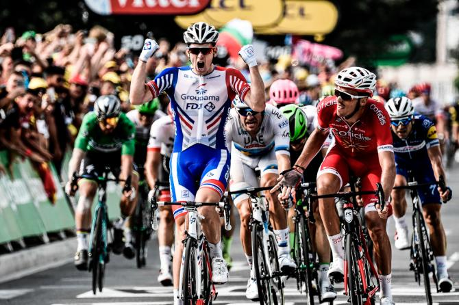 Arnaud Demare wins stage 18 at the Tour de France ahead of Christophe Laporte