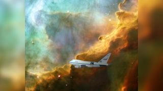 A team led by University of Maryland astronomers created the first clear image of an expanding bubble of stellar gas where stars are born using data from NASA's SOFIA telescope on board a heavily modified 747 jet as seen here in this artist's rendering.