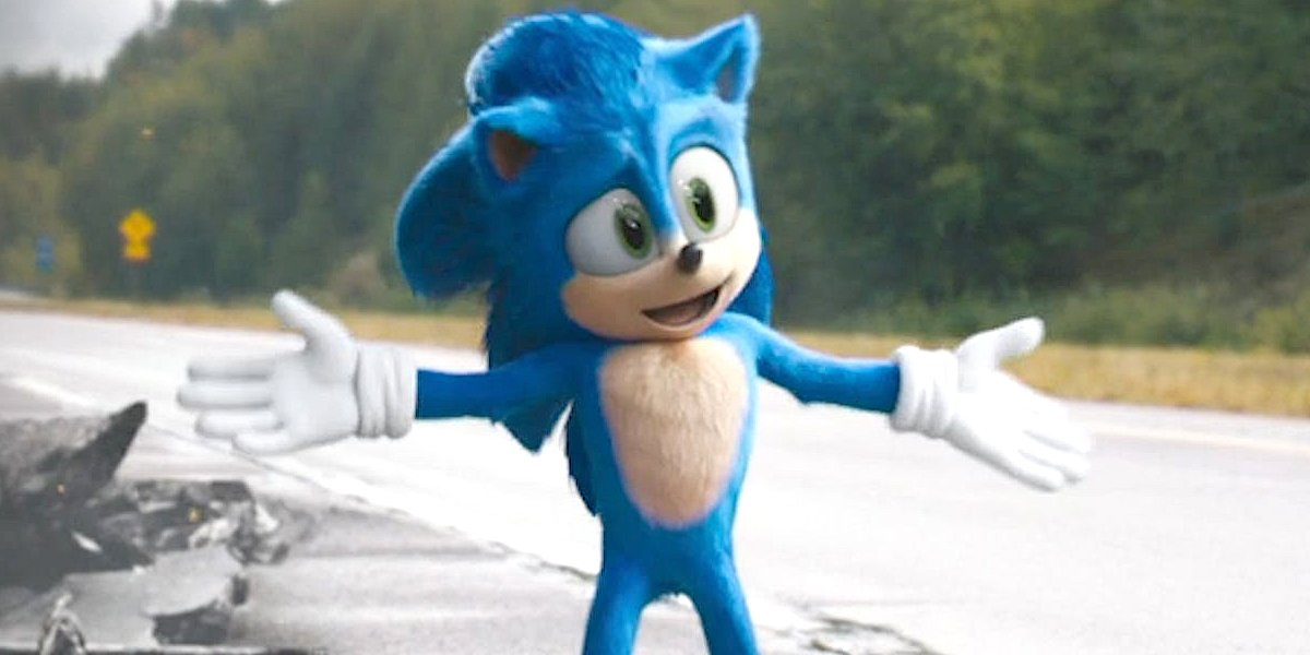 Sonic the Hedgehog movie arms out