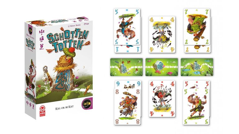 Schotten Totten box and game on white background
