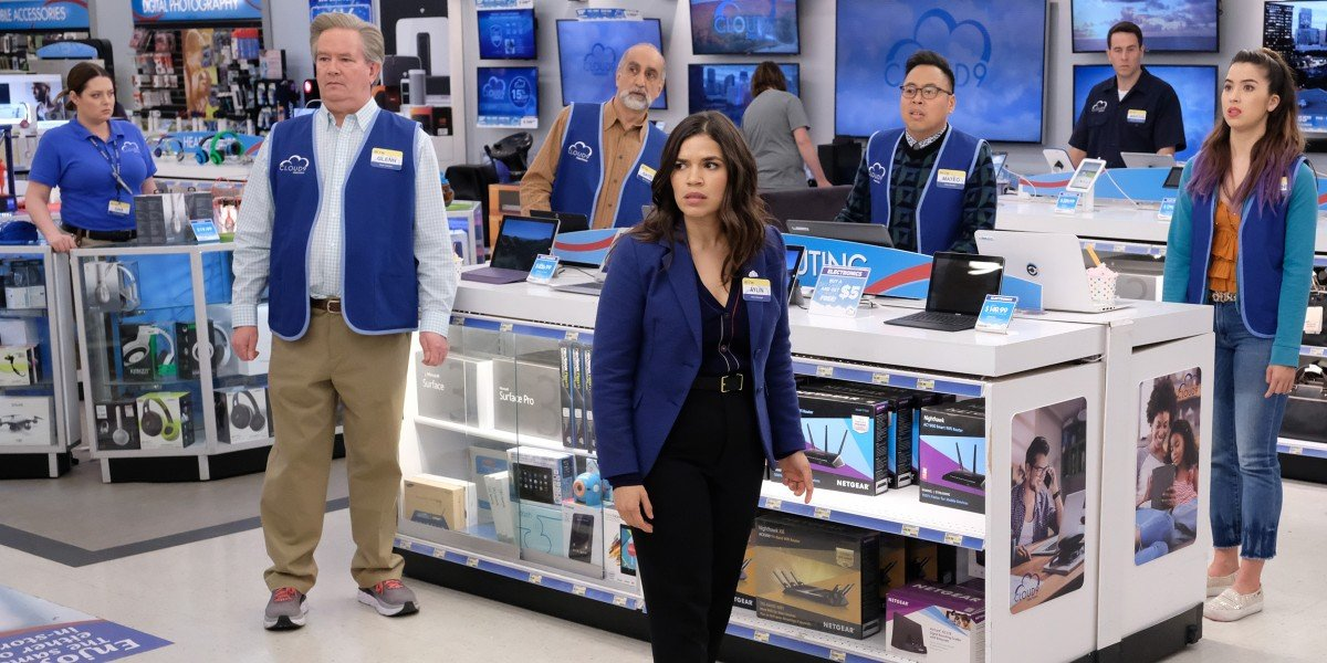 America Ferrera, Lauren Ash, Mark McKinney, Nico Santos, Jon Barinholtz, Nichole Bloom, and Amir M. Korangy in Superstore