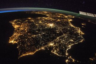 This image taken from the International Space Station shows artificial lights from Spain and Portugal.