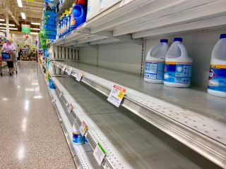 A nearly empty shelf of bleach at a store in Georgia amid the coronavirus pandemic.