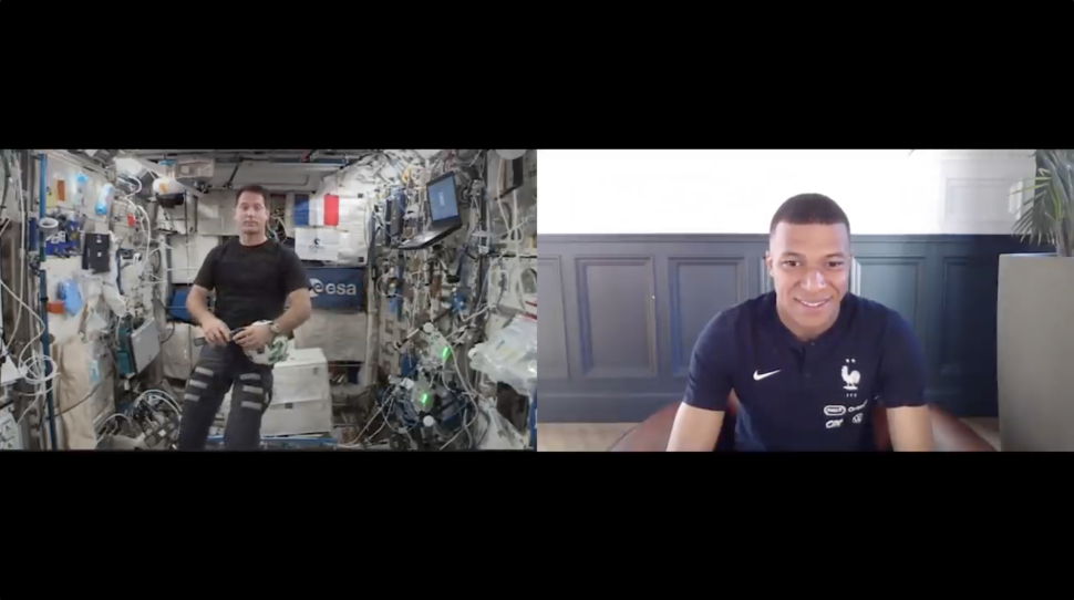 World-renowned soccer star Kylian Mbappe talks cosmic kicks with space station astronaut