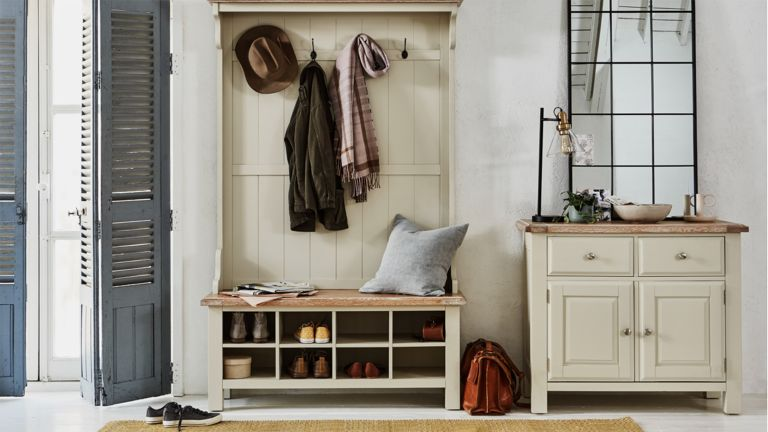 Cream hallway furniture by Furniture Village