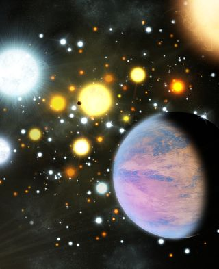 Stars swarm in a cluster, framed by planets