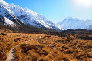 With a top elevation of 12,316 feet (3,745 meters), Mount Aoraki (also known as Mount Cook) is the highest peak in New Zealand and the crown jewel of the Southern Alps.