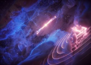 An artist's representation of the microquasar SS 433 beating in unison with the gas cloud known as Fermi J1913+0515.