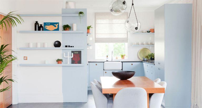 Baby blue kitchen trend, pastel kitchen cabinets