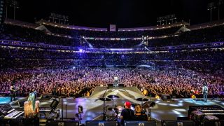 Guns N' Roses onstage in Los Angeles