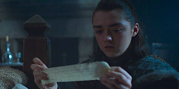 arya reading note Game Of Thrones HBO