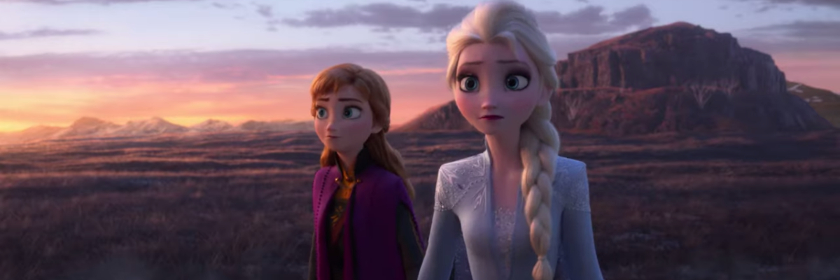 Frozen 2 Anna and Elsa in a wide open field