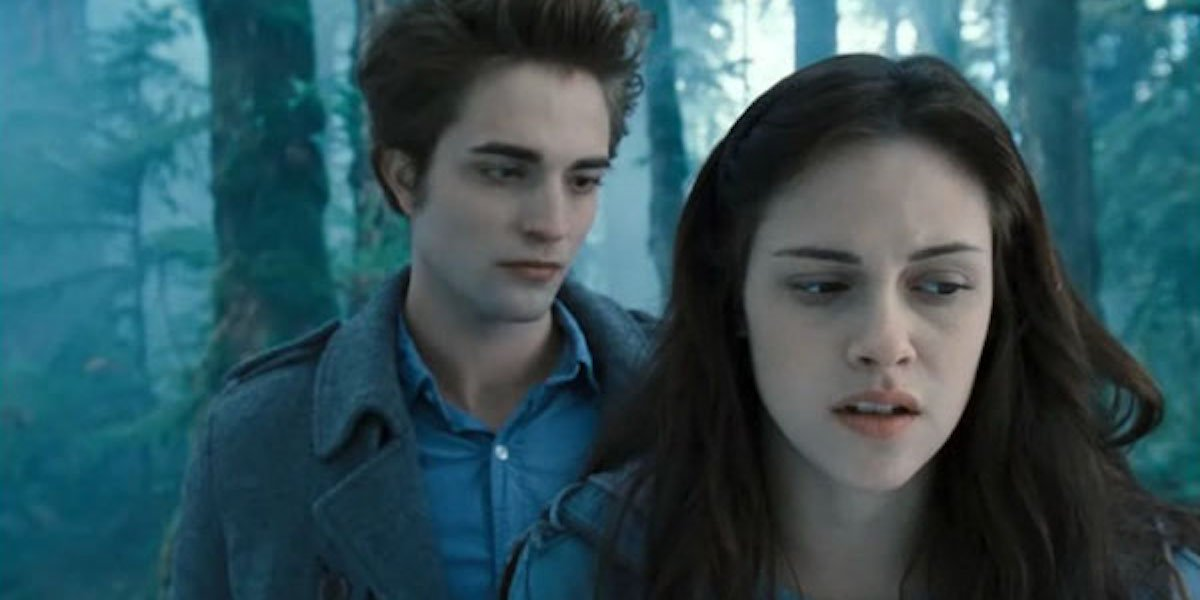 Edward and Bella in the forest in Twilight