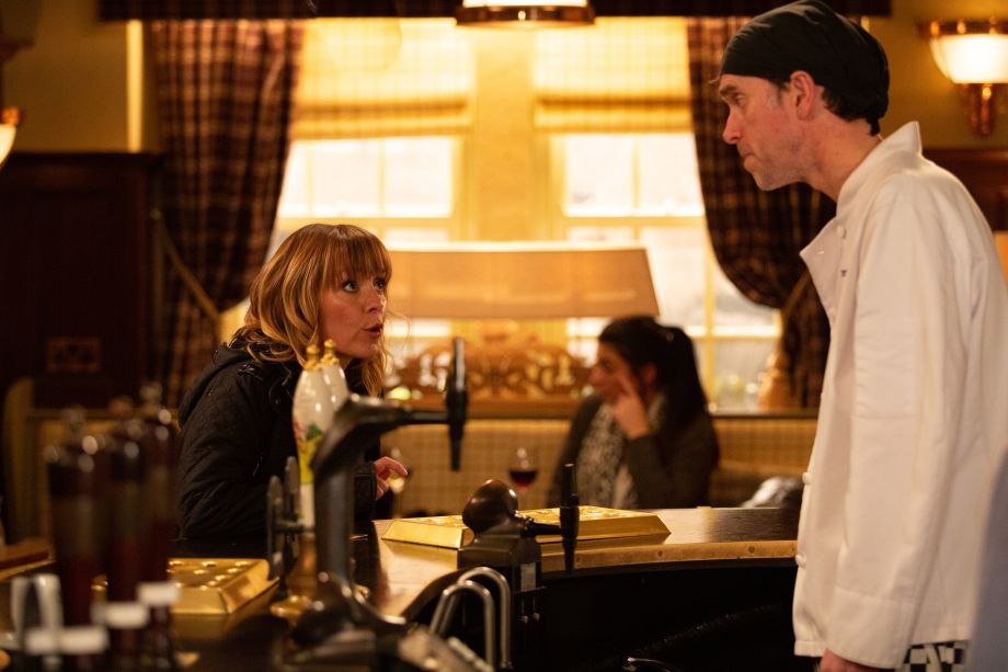 Rhona confronts Marlon over the disappearance of Leo's passport in Emmerdale