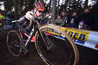 Pauwels Sauzen-Bingoal's Eli Iserbyt heads for third place at the 2019 Superprestige race in Zonhoven