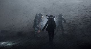 "Astronauts battle their way through a fierce dust storm in the movie ""The Martian."""