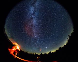 A fish-eye view of Perseid meteors in 2016 as seen from West Virginia.