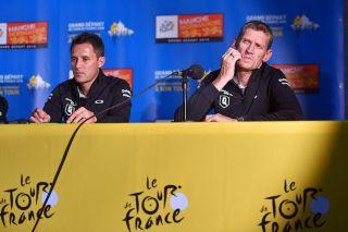 Dimension Data's Doug Ryder and Rolf Aldag at the 2016 Tour de France