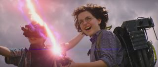 McKenna Grace fires a stream in Ghostbusters: Afterlife