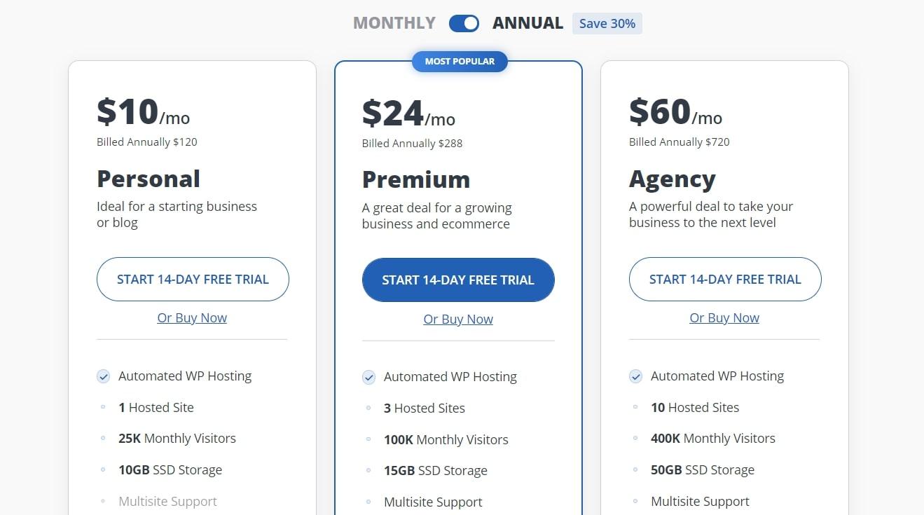 Options de tarification AI Website Builder