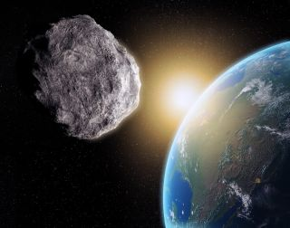 An artistic depiction shows a huge asteroid about to slam into Earth.