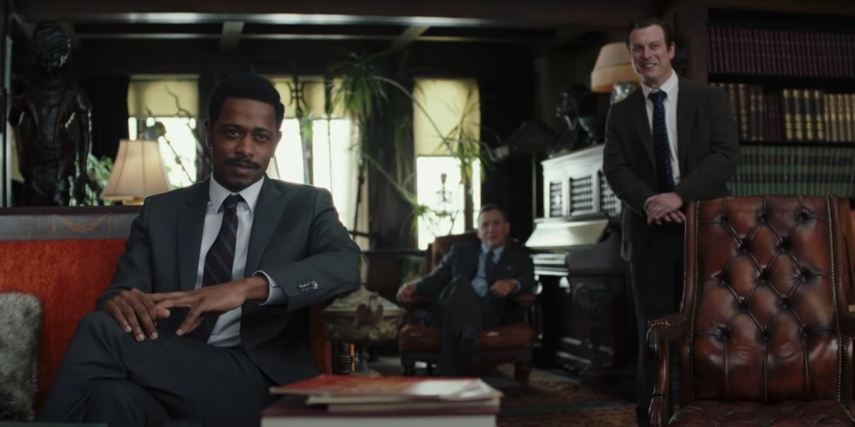 Lakeith Stanfield, Daniel Craig, and Noah Segan in Knives Out
