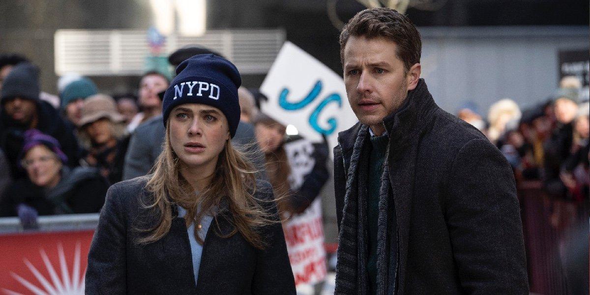 Melissa Roxburgh as Michaela Stone and Josh Dallas as Ben Stone in Manifest.