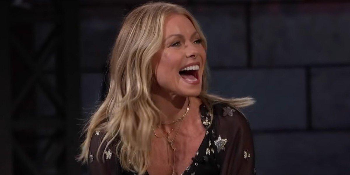 Kelly Ripa looking super happy Jimmy Kimmel Live
