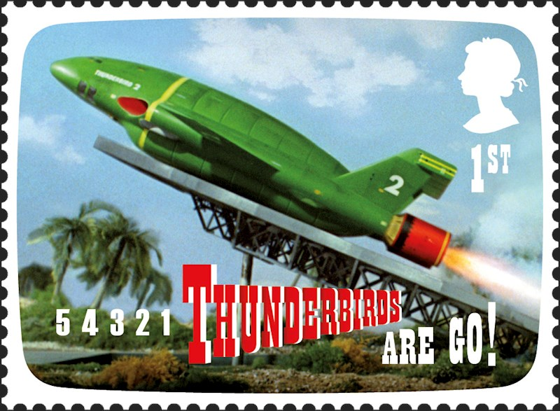 Stamp showing the Thunderbirds rocket taking off