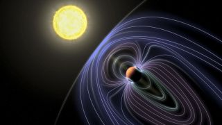 An artist's depiction of the exoplanet Tau Boötes b shows a magnetic field, which may cause the radio emissions scientists believe they have detected.